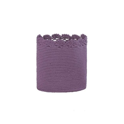 8 x 8 in. Mode Crochet Basket with Trim, Lavender