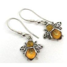 Real amber bee drop earrings, solid Sterling Silver.