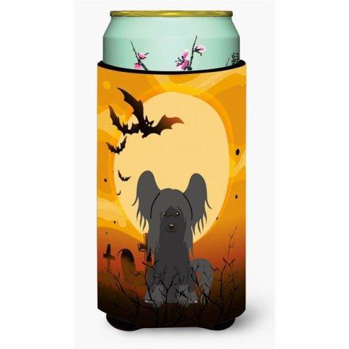 Halloween Chinese Crested Black Tall Boy Beverage Insulator Hugger
