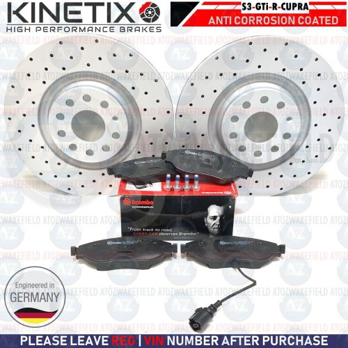 FOR AUDI S3 FRONT KINETIX PERFORMANCE DRILLED BRAKE DISCS BREMBO PADS SET 340mm