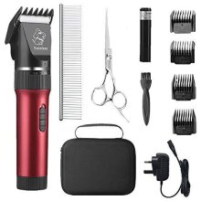 Sminiker Professional Low Noise Pet Clippers Rechargeable Cordless Cat and Dog Clippers Dog Trimmer Professional Dog Shaver with Storage Bag for Cat