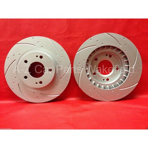 Mitsubishi Lancer evo 4 5 front grooved brake discs to fit 2 pot Piston 294mm