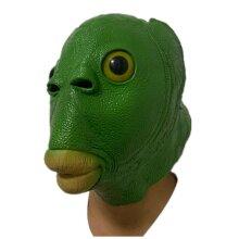 Halloween Green Fish Monster Mask Aquatic Latex Headgear Cosplay Props