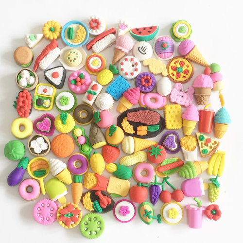 Cute Fruits Vegetables Cakes Biscuits Japanese Oriental Food Shape Puzzle Rubber Erasers Assorted 4 Pc