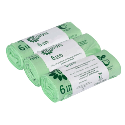 6 Litre All-Green Compostable Food Waste Caddy Liners - 150 Bags (6L)