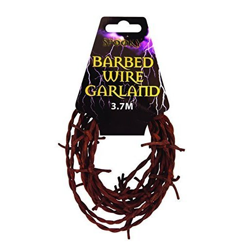 Halloween Fake Rusty Barbed Wire Garland - Size: 3.7metres