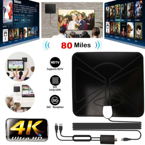 80 Mile HDTV Indoor Antenna Aerial HD Digital TV Signal Booster Cables