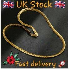 18K Yellow Gold Chain Necklace Women/Men Jewelry 5MM-20inch, Beautiful gift, UK