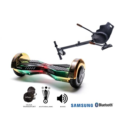 Package Hoverboard Smart Balance™ Premium Brand, Transformers CALIFORNIA+Hoverseat,8 inch Bluetooth wheels,Samsung battery,Built-speakers,700W,LED