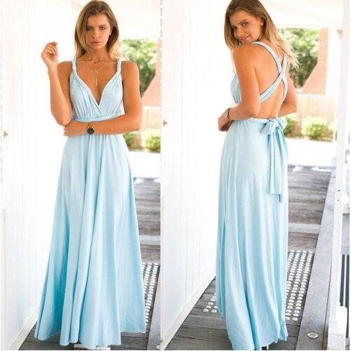 (light blue, 2) Covertible Bridesmaid Dress