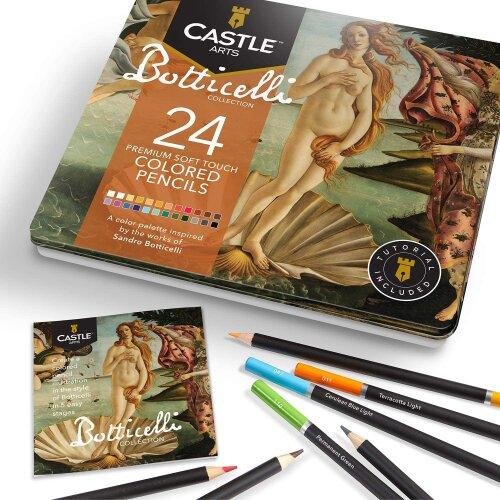Castle Arts Botticelli Themed 24 Piece Coloured Pencil Set in Tin Box