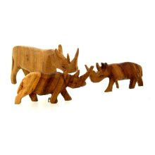 Wooden Rhino Figurine Family - 3 Piece Set