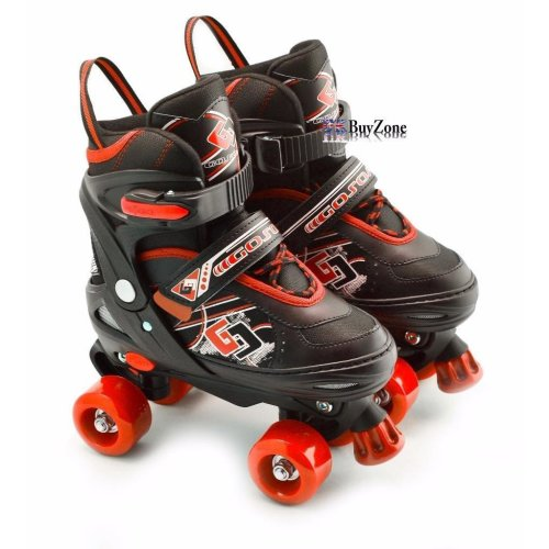 (Red Small /UK 11-1/) The Magic Toy Shop Adjustable Quad Roller Skates