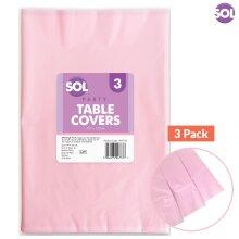 Colour Table Cover 3pk Plain Pastel Tablecloth