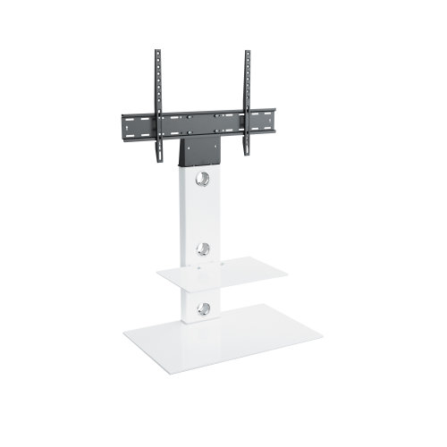 King Cantilever TV Stand with Brackets, White, Rectangle Base, TVs up to 60""