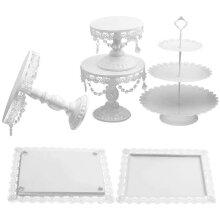 6Pc Crystal Cake Stand, Cupcake Stand & Dessert Holder Set - White