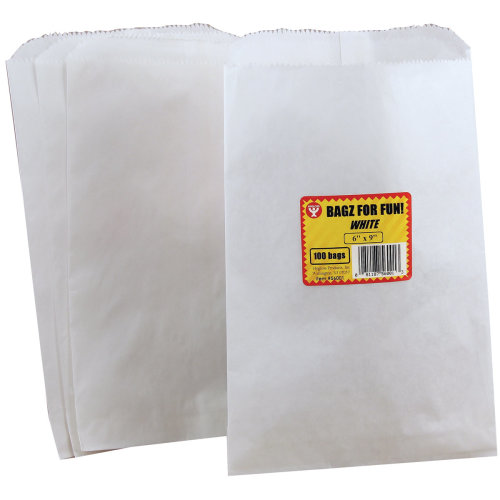 "Hygloss Pinch Bottom Paper Bags 6""X9"" 100/Pkg-White"