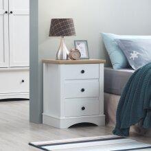 Carden Bedside Cabinet Bedroom Furniture Nightstand Table 3 Drawer White Oak