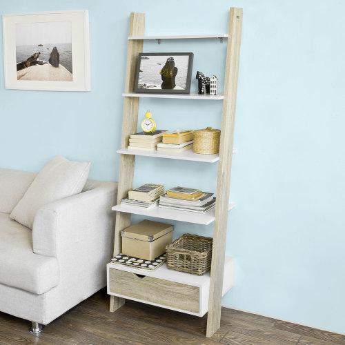 SoBuy FRG112-WN 5-Tier Ladder Shelf   2-Tone Ladder Storage Unit