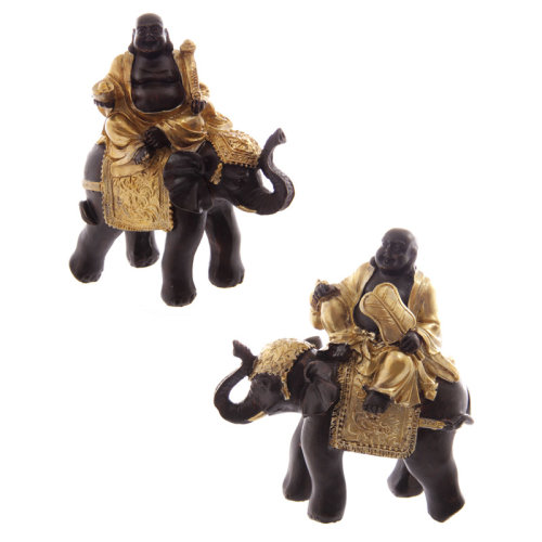 Decorative Gold and Brown Chinese Buddha Riding Elephant - Set of 2