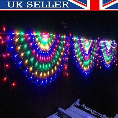3M 444LED Peacock Curtain String Lights Xmas Net Mesh Fairy Window Colorful Lamp