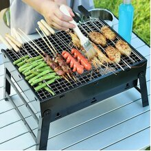 Black Plated-Steel Portable Barbecue | Outdoor Charcoal BBQ With Grill