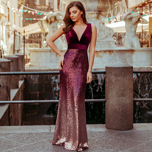 Sequin & Velvet Maxi Long Mermaid Prom Dresses for Women