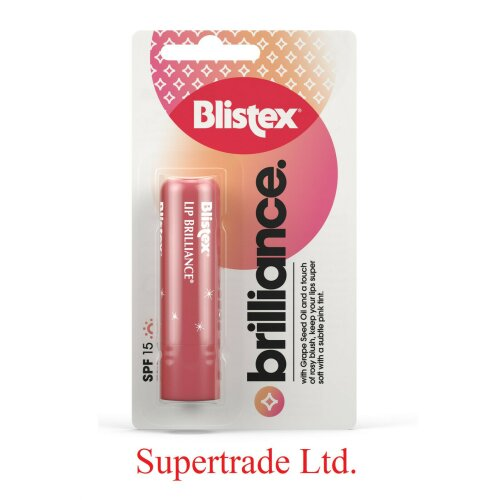3 X Blistex Lip Brilliance With Grape Seed Oil Rosy Blush SPF 15 Lip Balm - 3.7G