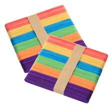 50 & 100 Packs of Rainbow Coloured Lolly Sticks