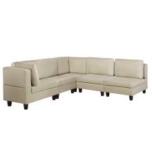5 Seater Modular Fabric Corner Sofa Beige FEVIK
