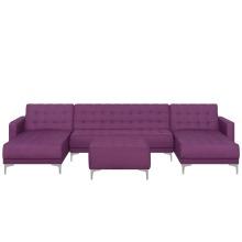 5 Seater U-Shaped Modular Fabric Sofa with Ottoman Purple ABERDEEN