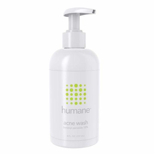 Humane Face & Body Acne Wash, 10% Benzoyl Peroxide Acne Treatment, Oil-free, Paraben-free, Dermatologist-Tested, 8 oz