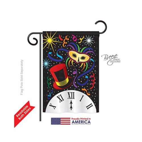 Breeze Decor 66002 New Year Mid Night 2-Sided Impression Garden Flag - 13 x 18.5 in.