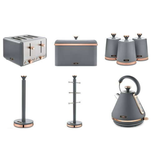 Tower GREY & Rose Gold Cavaletto 1.7L Kettle 4 Slice Toaster Bread Bin Canisters Towel Pole & Mug Tree
