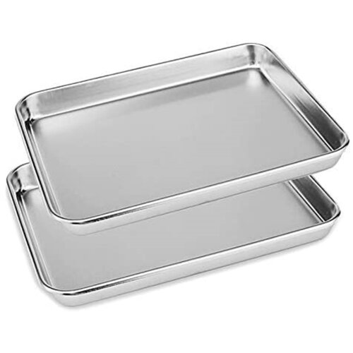 2x Stainless Steel Polished Baking Trays 40cm