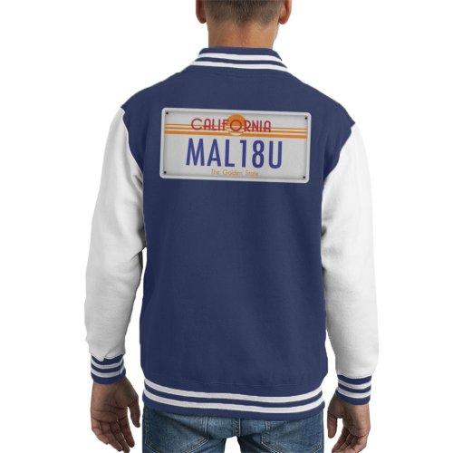 Malibu California License Plate Kid's Varsity Jacket