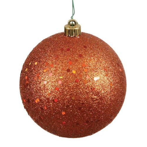 8 in. Burn Orange Sequin Drilled Cap Christmas Ornament Ball