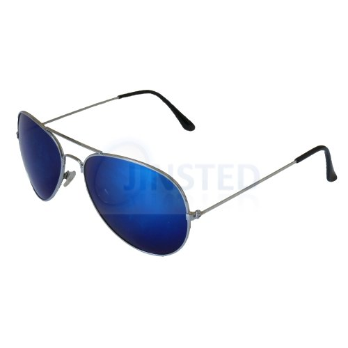 Adult Blue Mirrored Reflective Aviator Sunglasses Silver Frame AA004