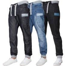 Enzo Designer Mens Cuffed Denim Jeans Regular Fit
