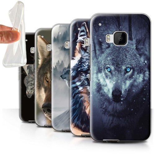 Wild Animal Predator Wolf HTC One/1 M9 Phone Case Transparent Clear Ultra Soft Flexi Silicone Gel/TPU Bumper Cover for HTC One/1 M9