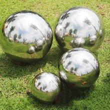4pc Stainless Steel Mirrored Gazing Balls | Garden Ornaments