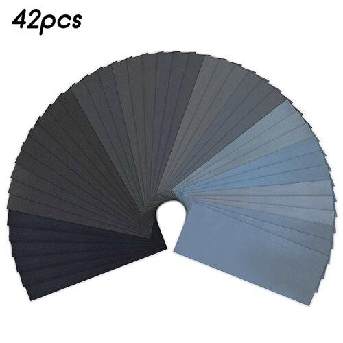 "(42 Pcs) 9x3.7"" Assorted Sanding Wet Dry Waterproof Sandpaper Mixed Sander Paper Sanding 36/42pcs"