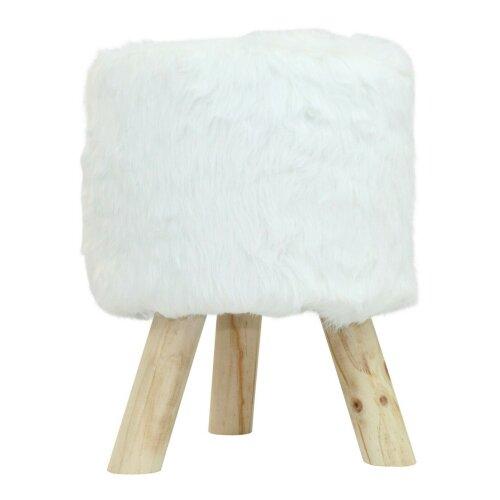 White Fur Ottoman - Round Faux Fur Luxury Foot Stool Seat Home Living Room Decor