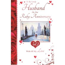 To My Wonderful Husband On Our 40th Ruby Anniversary Couple Design Greeting Card