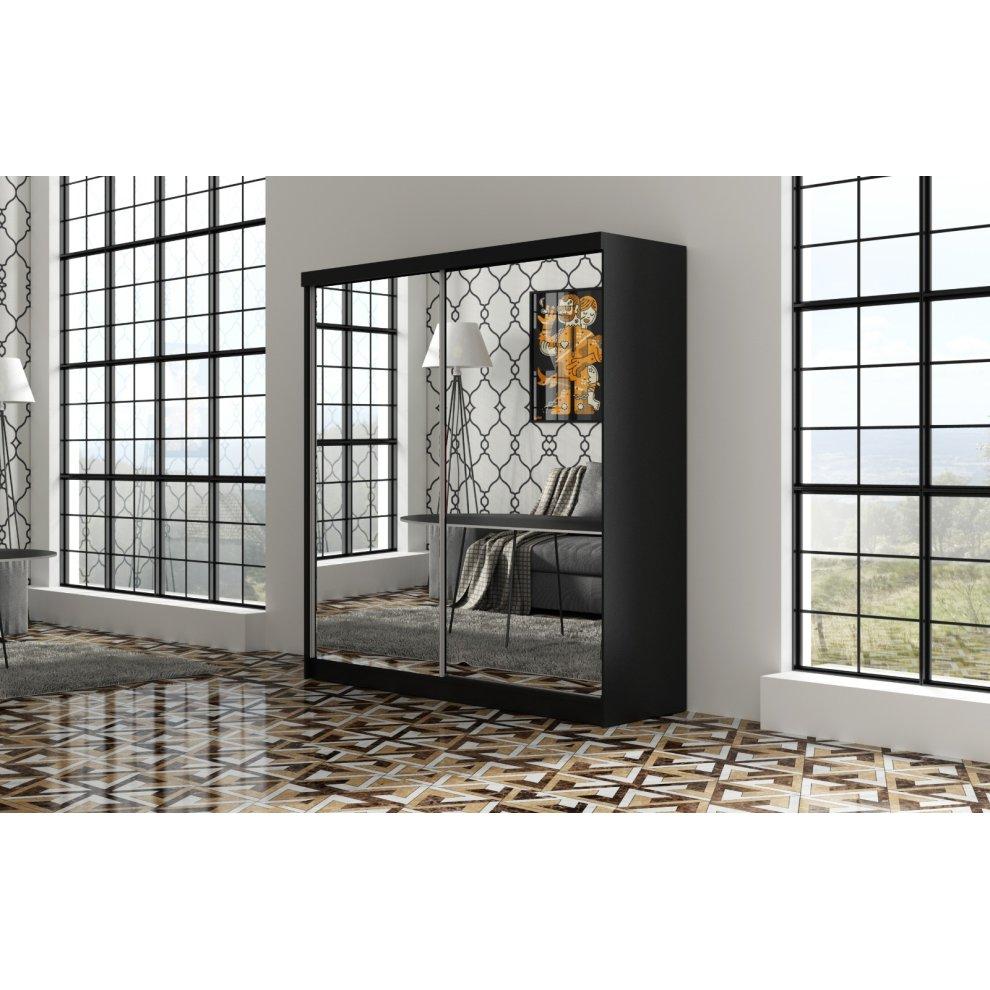 (Black) Sliding Full Mirror Wardrobe Available Size 150cm ...