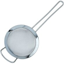 Fine Double Mesh Strainer with Polished Rim and Handle, High Quality 18/10 Stainless Steel - 15 cm Diameter