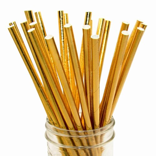 GOLD PAPER STRAWS PACK OF 20