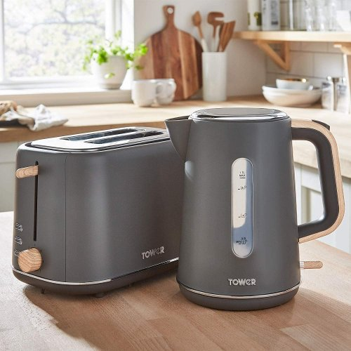Tower Scandi 1.7L 3kW Cordless Rapid Boil Grey Kettle and Matching Grey 2 Slice Toaster