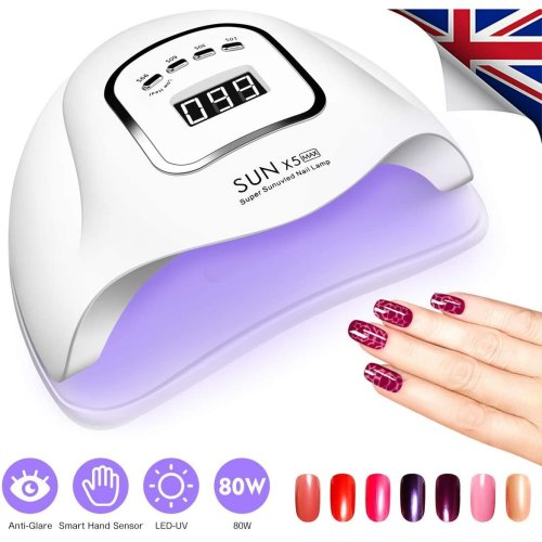 UK Stock! 80W 36LED UV Nail Lamp Polish Dryer Gel Acrylic Curing Light Professional Tool