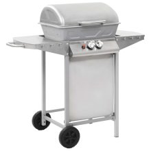vidaXL Gas BBQ Grill with 2 Cooking Zones Silver Stainless Steel